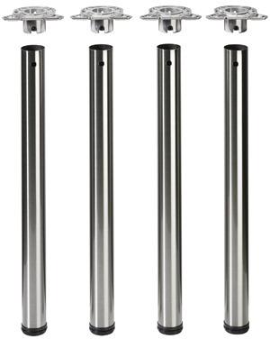 Stahl-Tischbein-Set 50 mm edelstahl-fini