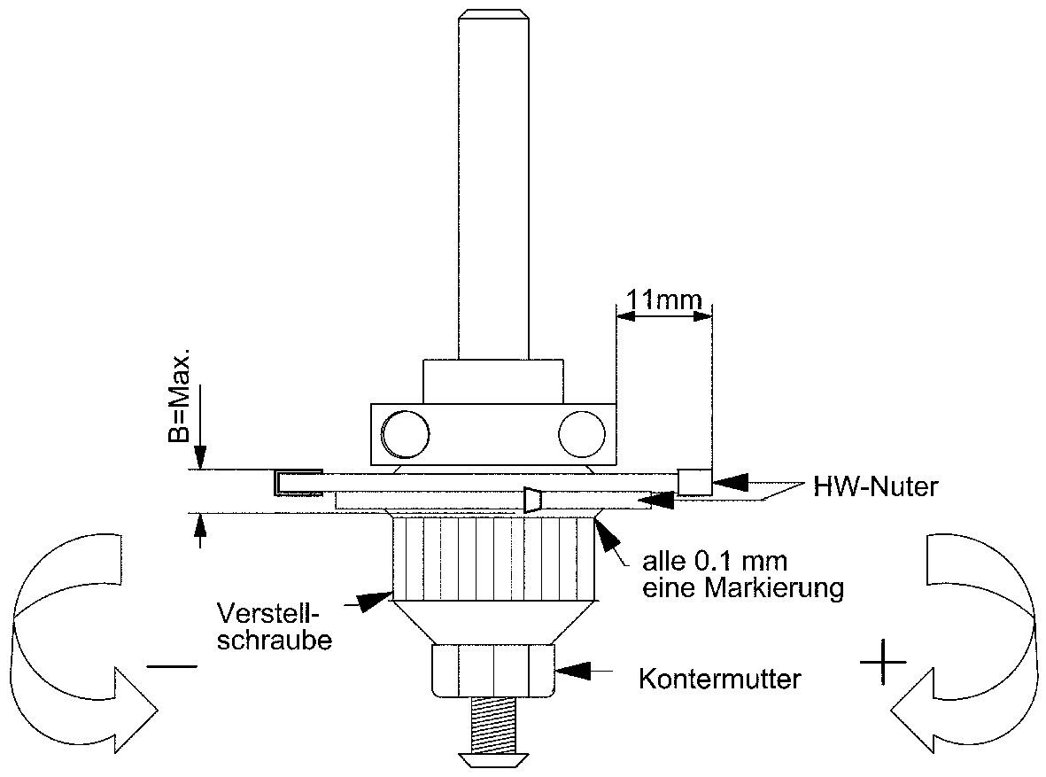 Fresa per scanalare regolabile HWS con cuscinetto a sfere