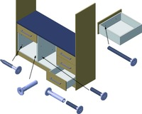 Système de fixation à vis pour meubles ferronorm