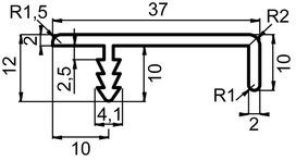 Griffleistenprofile mit Profiltiefe 37 mm / 2500 mm