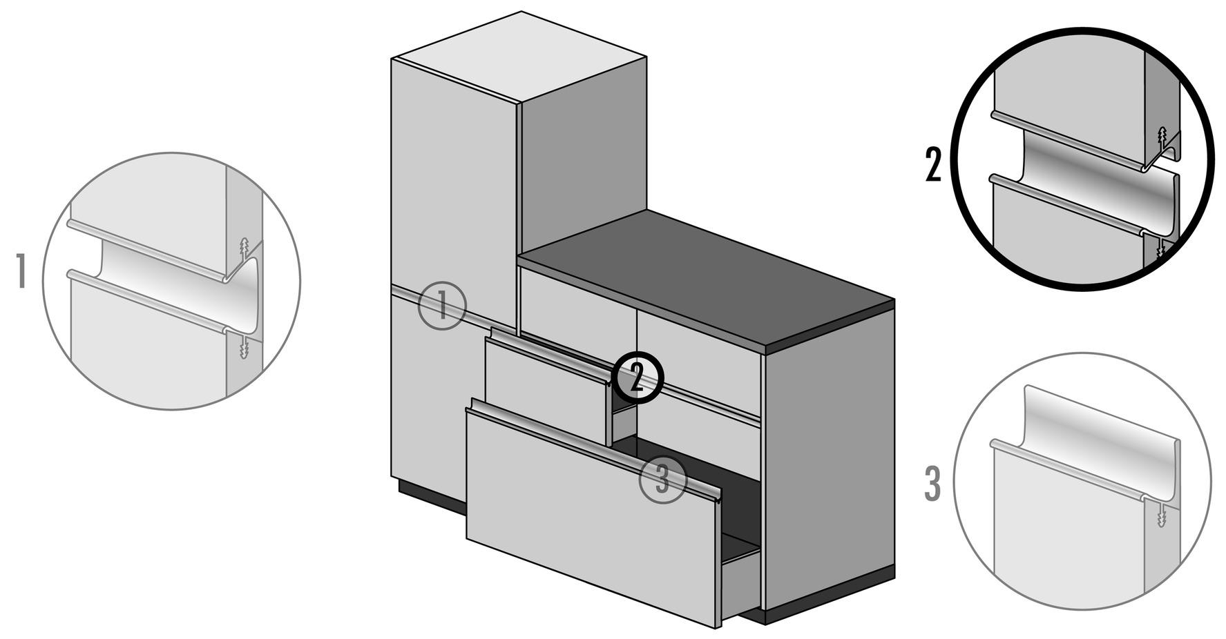 Griffleistenprofile mit Profilhöhe 16 mm auf Mass