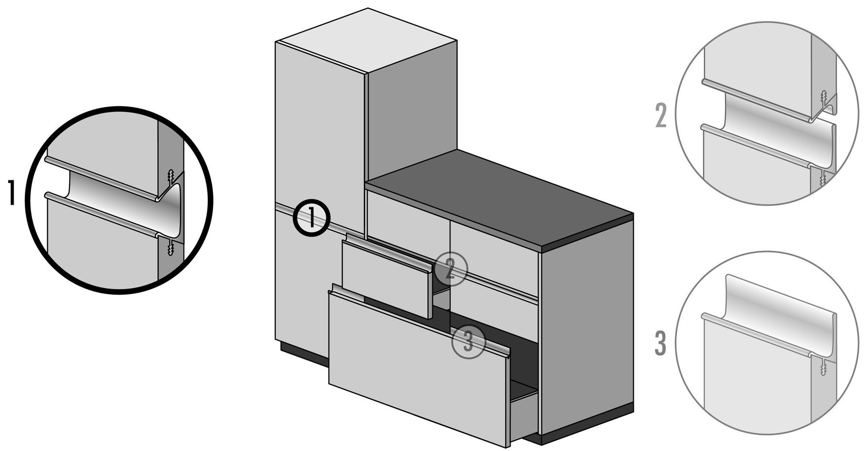 Griffleistenprofile mit Profilhöhe 57 mm
