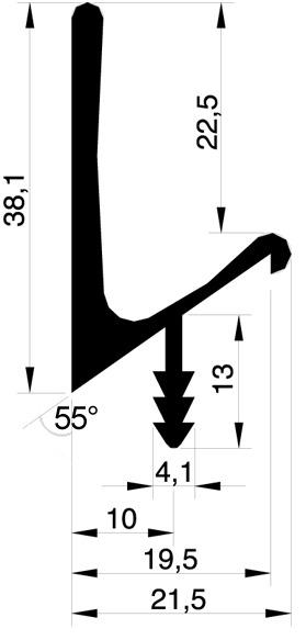 Griffleistenprofile mit Profilhöhe 38 mm