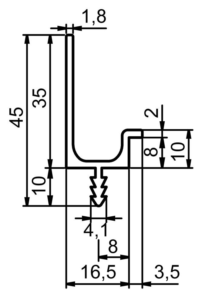 Profils de poignée hauteur 35 mm sur mesure