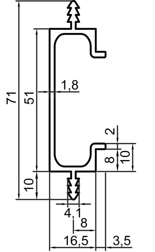 Griffleistenprofile mit Profilhöhe 51 mm