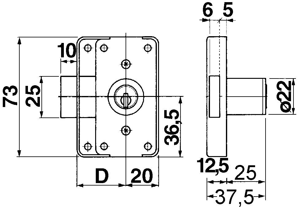 Aufschraub-Riegelschlösser KABA Typ 2422