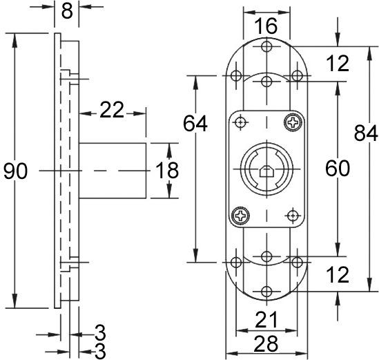 Scatola per serratura ad asta scorrevole WKS - P5000