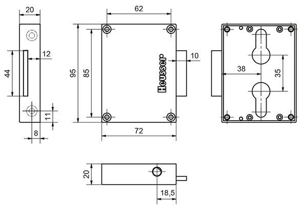 Drehstangenschloss 3120 für Europrofil Halbzylinder