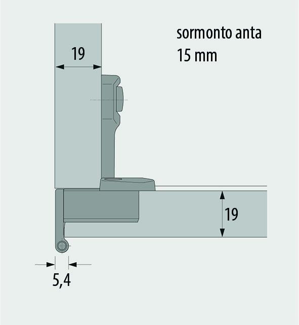 Cerniere a scodellino HETTICH Selekta Pro 2000, sormonto anta 15/16 mm, cerniere laterali, perno a filo
