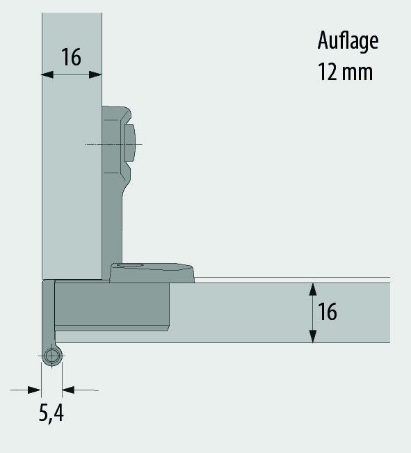 Einachs-Topfbänder HETTICH Selekta Pro 2000, Türauflage 12 mm, Eckband, Rolle bündig