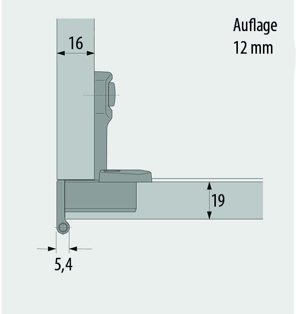 Cerniere a scodellino HETTICH Selekta Pro 2000, sormonto anta 12 mm, cerniere laterali, perno a filo