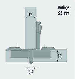 Einachs-Zwillingstopfbänder HETTICH Selekta Pro 2000, Türauflage 6.5 mm, Rolle mittig