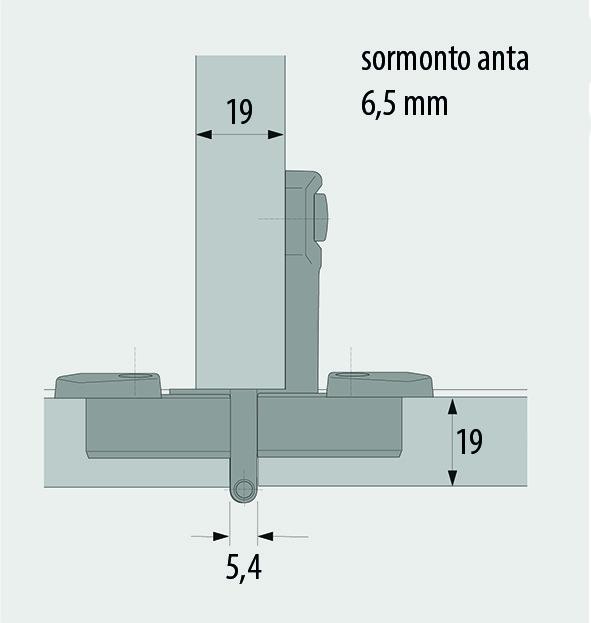 Cerniere doppia a scodellino HETTICH Selekta Pro 2000, sormonto anta 6.5 mm, perno centrale