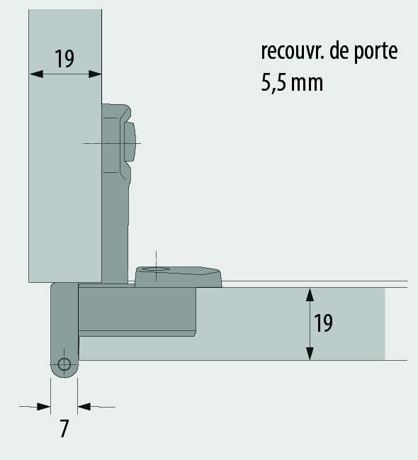 Charnières mono-axe HETTICH Selekta Pro 2000, recouvr. de porte 5.5 mm, charnière d'angle, lacet centrique