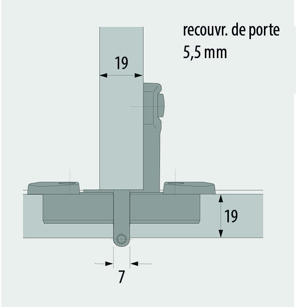 Charnières double mono-axe HETTICH Selekta Pro 2000, recouvr. de porte 5.5 mm, lacet centrique