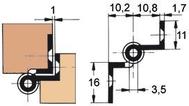 Charniéres pour meubles FS, diamètre des noeuds 6 mm