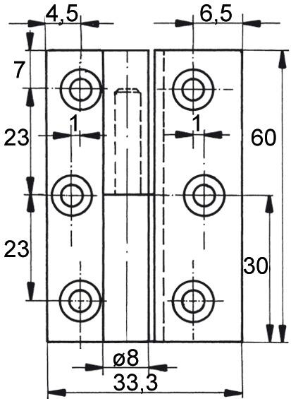 Charniéres pour meubles FS, diamètre des noeuds 8 mm