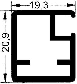 Telai per porte in vetro sottile 20 mm senza vetratura, traversa 20 mm