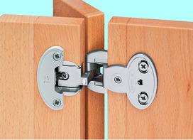 Charnières double mono-axe PRÄMETA SERIE 2600 CLIP, recouvr. de porte 6.5 mm, lacet au milieu