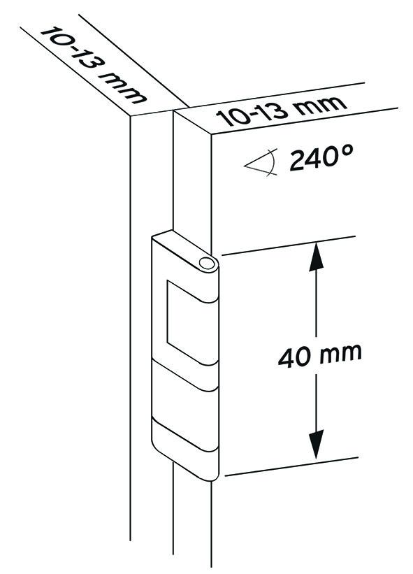 Cerniere piatte per porte sottili PRÄMETA, sormonto anta 3.5 mm, cerniere laterali, perno centrale