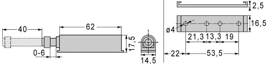 Sistema d'apertura di porta per porte di mobili senza maniglie