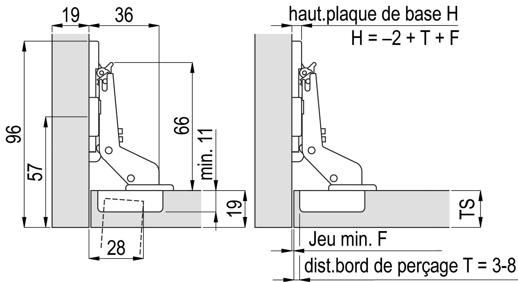 Cerniere a scodellino SALICE Push con molla a movimento negativo, cerniere laterali, centrali e interne