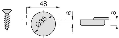 Cerniere a scodellino per porte sottili SALICE, cerniere laterali et centrali