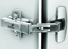 Charnières HETTICH Intermat 9930, charnière d'angle devant, sans amortissement, avec fermeture automatique, domaine d'application portes pliantes d'amoire d'angle