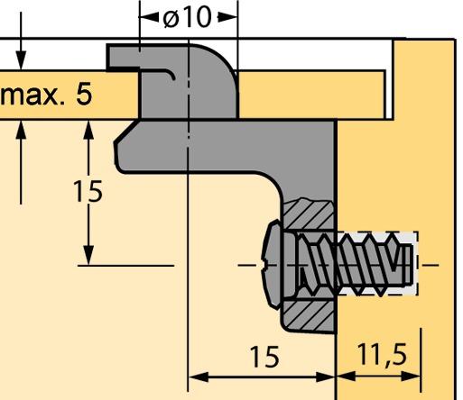 Raccordo per schienali HETTICH RV-1