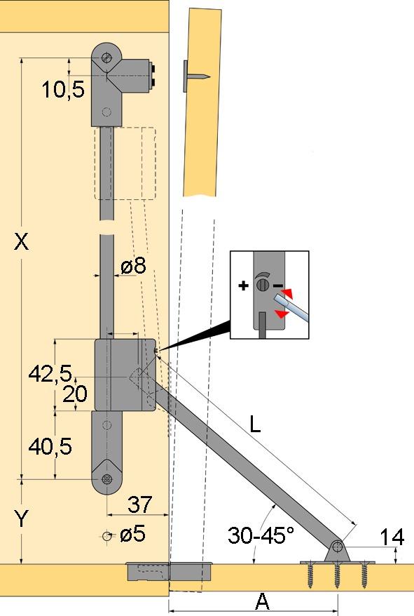 Compas pour abattants avec frein HETTICH Klassik D