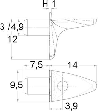 Taquets avec surface d'appui pour le verre