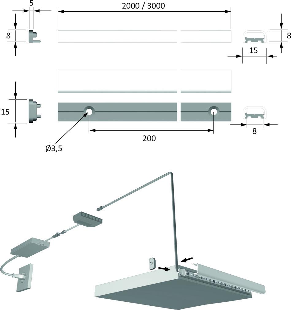 LED Anbauprofile HALEMEIER ChannelLine J mit Lichtblende