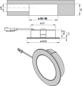 LED Ein-/Anbauleuchten L&S Emotion Chip 68 12 V