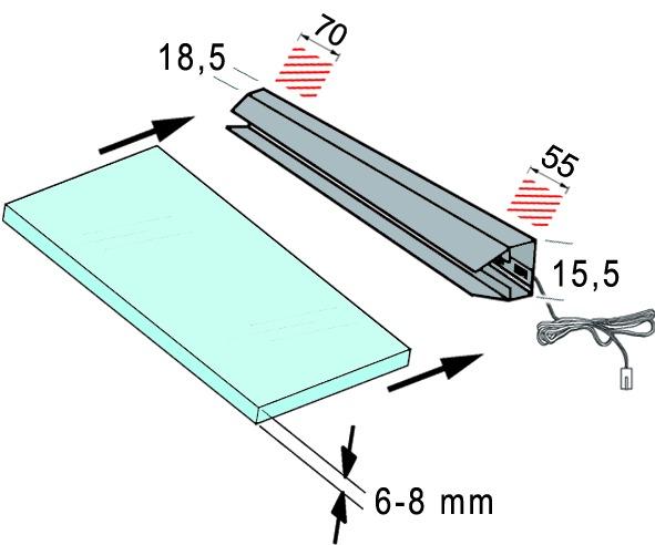 LED Glaskantenleuchten L&S 12 V