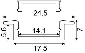 Einbauprofil LONDON 24.5/1.4 mm mit Lichtblende