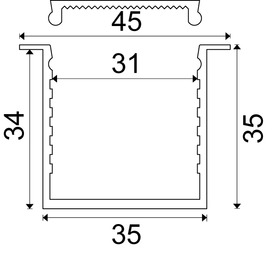 Profilo per montaggio incassato MOSCA con diaframmi