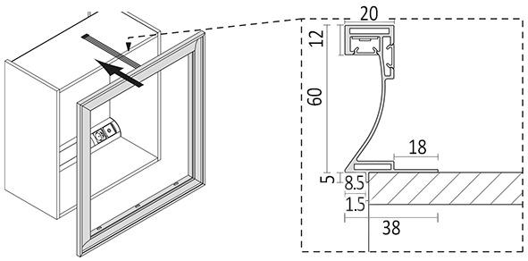 LED Spiegelrahmen L&S Emotion Frame 24 V zur Selbstkonfektion