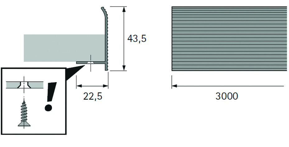 Profilé de façade pour étagère en bois