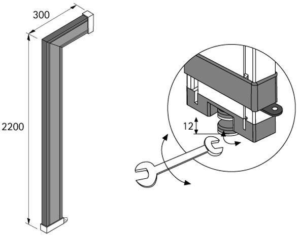 Profilé de raccord d'étagère / mur Amari 200, profondeur 300 mm