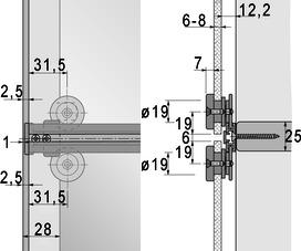 Ferrements pour portes coulissantes HETTICH Slide Line 66, Forslide