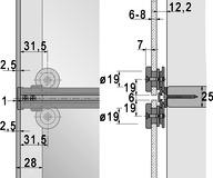 Ferramenta per ante scorrevoli HETTICH Slide Line 66, Forslide per 1 anta scorrevole in vetro