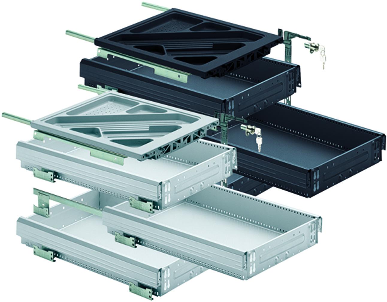 HETTICH Systema Top 2000 Kit pour caisson avec coulisses à sortie partielle