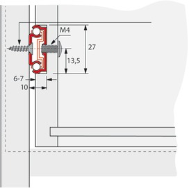 Coulisses à simple extension HETTICH KA 270, montage rainure  27 mm