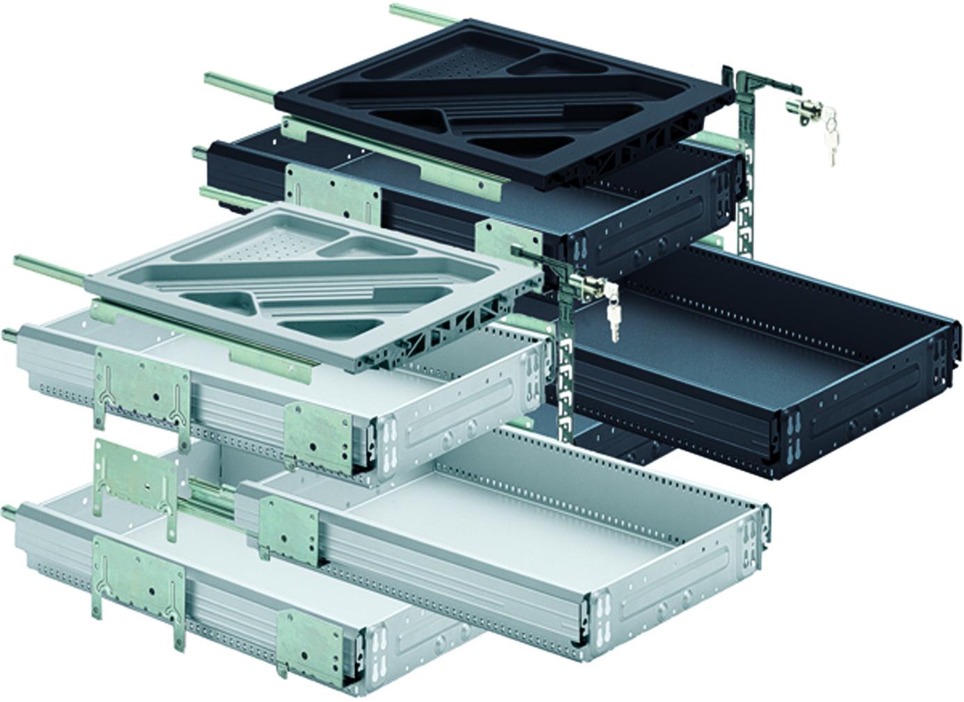 HETTICH Systema Top 2000 Kit pour caisson avec coulisses à sortie totale