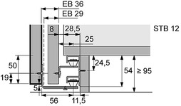 Garniture de guidage STB 12, ferrements de guidage en bas