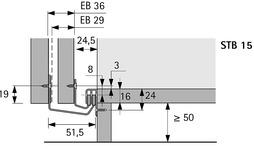 Garniture de guidage STB 15, ferrements de guidage en bas