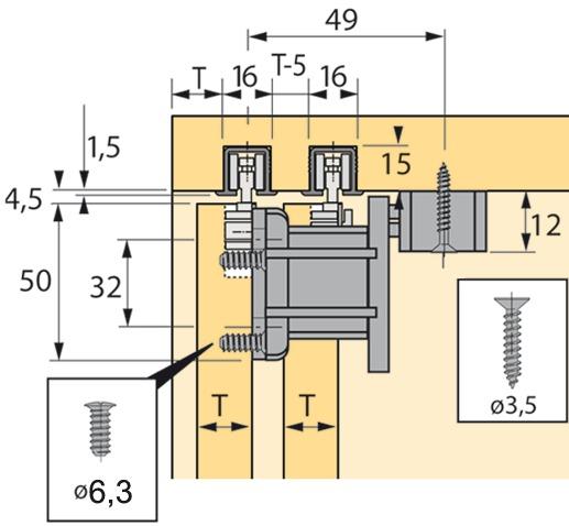 Ferrements pour portes coulissantes HETTICH Top Line 110, Inslide/Mixslide