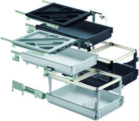 HETTICH Systema Top 2000 Kit pour caisson avec coulisses à sortie partielle et super extension