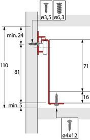 Kit cassetto guide a estrazione semplice HETTICH MultiTech, altezza spondine 86 mm