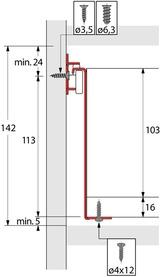 Kit cassetto guide a estrazione semplice HETTICH MultiTech, altezza spondine 118 mm